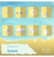 The summer set icons on watercolor background vector