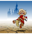 Cartoon funny guy cheerfully running vector