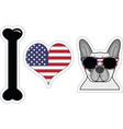 I love french bulldog with american symbols 2 vector