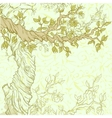 Spring vintage garden background with tree branch vector