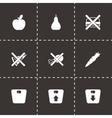 Black diet icon set vector