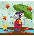 Mouse in rain autumn vector