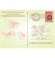Back of mothers day card in a vintage style vector