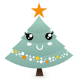 Cute christmas tree mascot isolated on white vector