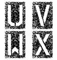 Stencil angular spray font letters u v w x vector