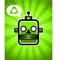Green recycling retro robot vector