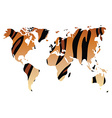 World map in animal print design tiger pattern vector
