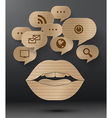 Bulb and lip with icon cardbord vector