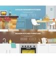 Kitchen furniture banner vector
