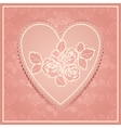 Pink lace in heart shape vector