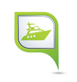 Green map pointer with yacht icon vector