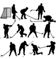Set of silhouettes of hockey player isolated on vector
