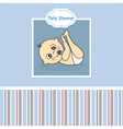 Baby boy birth greeting card vector