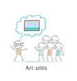 Art critic tells people about the picture vector