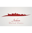 Jackson skyline in red vector