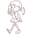 Girl and icecream vector