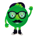 Funny monster with mustache and glasses vector