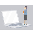 Portrait of a miniature woman manager keeps vector