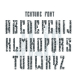 Bold stencil plate sans serif font with shabby vector