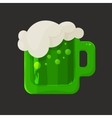 Stylized shiny glass mug with green beer and foam vector