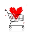 Big red heart in shopping cart for your design vector