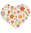 Floral heart card vector