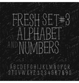 Set of hand drawing alphabet and numbers vector
