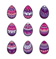 Set of nine colorful easter eggs vector