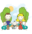 Young couple in park with baby vector