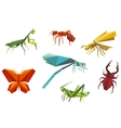 Insects set in origami style vector