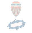Vintage balloon with tag frame vector