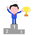 Businessman holding cup on podium as champion vector
