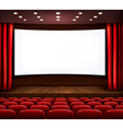 Cinema with white screen curtain and seats vector