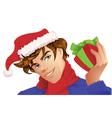 Santa man holding a christmas gift vector