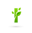 Letter i eco leaves logo icon design template vector