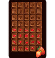 Set of chocolate bars with icons of food and vector