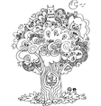 Funny tree with cute howls vector