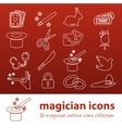 Magician outline icons vector