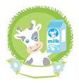 Sweet cow with milk vector