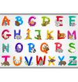 Cartoon alphabet with animals vector