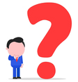 Businessman with big question mark vector