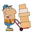 Friendly hispanic delivery man vector