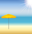 Beach with parasol and sun vector