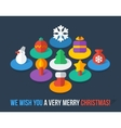 Set of isometric colorful christmas flat icons vector
