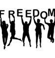 People silhouettes jumping and holding the letters vector
