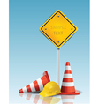 Traffic cones and yellow sign with hard cap vector