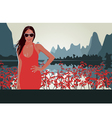 Red lips red flowers vector