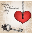 Vintage valentine card with hand-written heart and vector