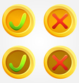 Bright check and cross buttons in yellow circles vector