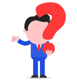 Businessman holding question mark vector